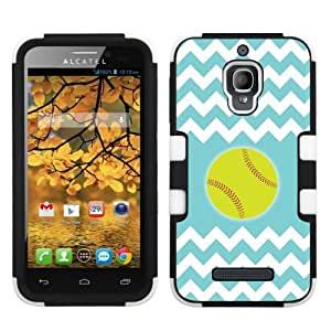 One Tough Shield ? Hybrid-Layer Phone Case for Alcatel One Touch Fierce 7024W - (Chevron/Teal/Softball) by lolosakes