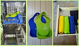Waterproof Silicone Baby Bibs - Cute Soft & Comfortable for Your Toddler - 2 Pack Green & Blue - Wide Food Crumb Catcher Pocket - Easy Roll-Up Wipes Clean & Quick Drying - Door Slam Guard Included