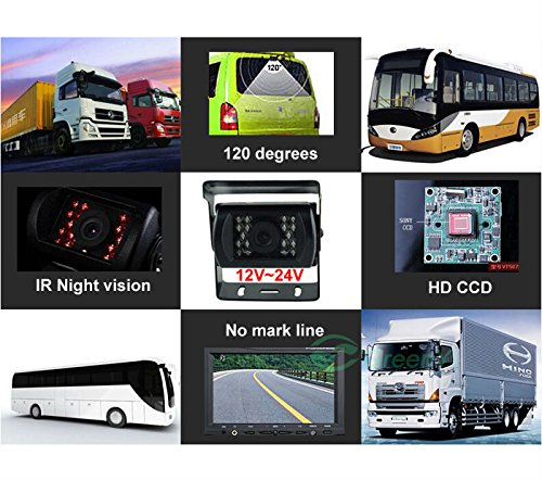 12/V-24/V 4pol Bus Truck Trailer Heavy Duty 18/IR LEDs Nachtsicht wasserdicht R/ückfahrkamera Backup Kamera mit 15/m Kabel 4pol