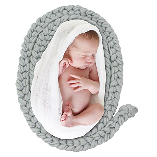 Circle Baby Photo Announcement - ICOSY Newborn Twist Rope Photo Blanket Backdrop Baby Braided Knitted Rug Blanket Photography Props Basket Filler