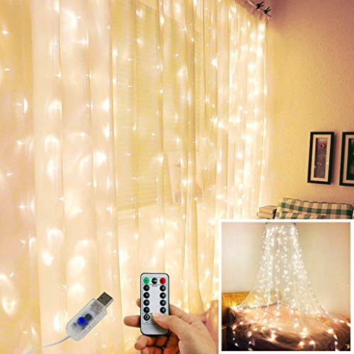 m·kvfa Fairy Curtain Lights Bedroom Window Lights 300LEDs 3m×3m Remote Control Timer 8 Lighting Modes Window Icicle Wedding Backdrop Hanging Wall Fairy Lights Christmas Window String Light