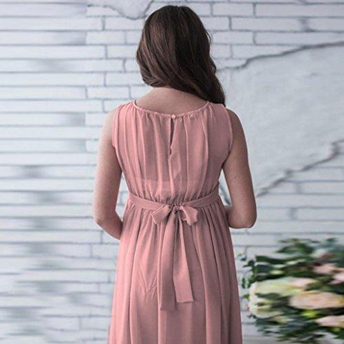Frauen Schwangere Chiffon Kleid, Zarupeng Lässige Ärmelloses Elegant Lange Maxikleider Partykleider Einfarbig Faltenrock Cocktailkleider Rosa