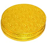 Cake Boards Rounds - 3 Piece Gold Foil Pizza Base Disposable Drum Circles, Corrugated Paper Board, FDA approved, 12 Inches in Diameter