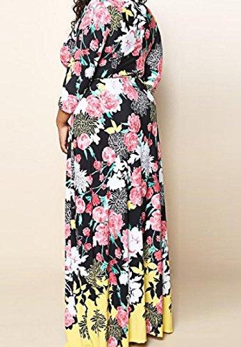 Sleeved Floral Comfy Picture Size Comfy Women's Dress As Plus Long Long Maxi xqwCqFRT