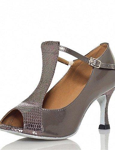 ShangYi Chaussures de danse(Noir / Rouge / Gris) -Personnalisables-Talon Personnalisé-Cuir / Similicuir-Latine / Jazz / Salsa / Samba / , grey-us6 / eu36 / uk4 / cn36 , grey-us6 / eu36 / uk4 / cn36