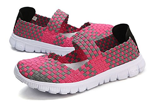 Huateng 2018 Spring Summer New Women's Hand-Woven Shoes, Fashion Lazy Shoes Rose