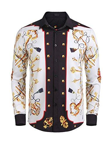 Detailorpin Men's Long Sleeve Luxury Design Printed Dress (Pattern Pants Shirt)