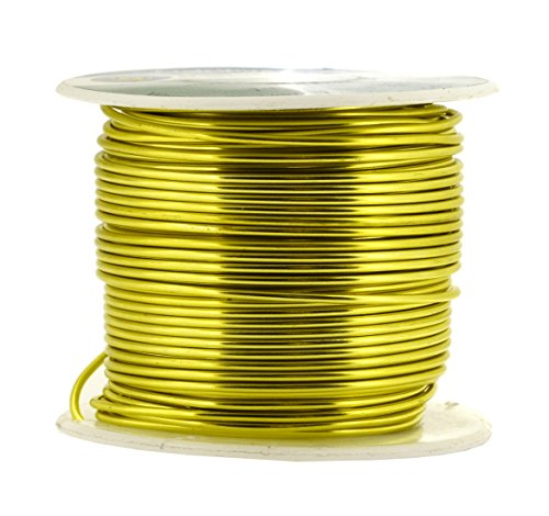 Mandala Crafts Anodized Aluminum Wire for Sculpting, Armature, Jewelry Making, Gem Metal Wrap, Garden, Colored and Soft, 1 Roll(16 Gauge, Yellow Green)