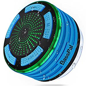 Bluetooth Speaker, BassPal IPX7 Waterproof Portable Shower Speakers, Wireless Shower Radio with Suction Cup & LED Mood Lights, Super Bass and HD Sound Perfect for Pool, Beach, Party, Travel &Outdoors