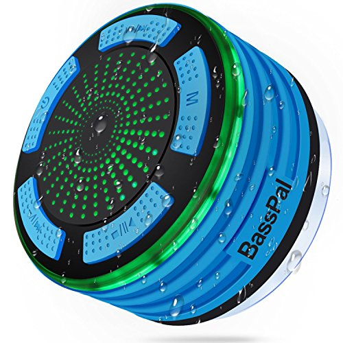 BassPal Shower Speaker Waterpoof IPX7, Portable Wireless Bluetooth Speakers with Radio, Suction Cup & LED Mood Lights, Super Bass HD Sound Perfect Pool, Beach, Bathroom, Boat, Outdoors (01.Blue) ()