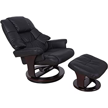 amazon com lch single leather recliner and ottoman leisure living