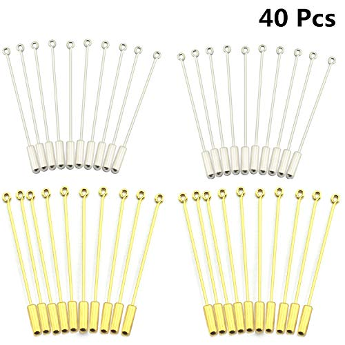 Hat Pin Brooch - 40 Pcs Silver Gold Metal Stick Pin,Copper Brooch Safety Pins Long Needle Eye Pin for Men Women Suit Tie Hat Scarf DIY Handmade Costume Jewelry Accessories,with Stopper Ends