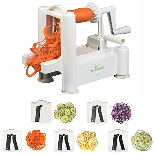 Spiralizer 5-Blade Stainless Steel Vegetable Slicer | Super Heavy Duty, Vegetable Spiral Slicer | Ultimate Zoodle Maker, Best Veggie Pasta & Spaghetti Maker | Perfect For Low Carb, Vegan, Paleo Meals