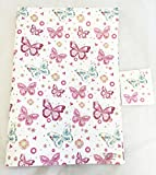 Ladies Butterfly Gift Wrapping Paper 2 Sheets Tag Floral Elegant Girl Wrap Her