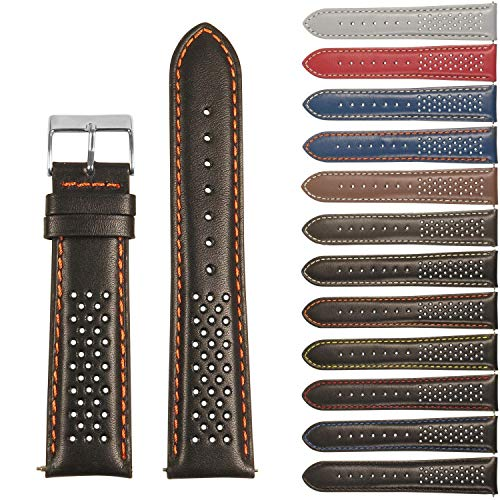 - StrapsCo Perforated GT Rally Racing Leather Watch Band - Quick Release Strap - 18mm 20mm 22mm 24mm