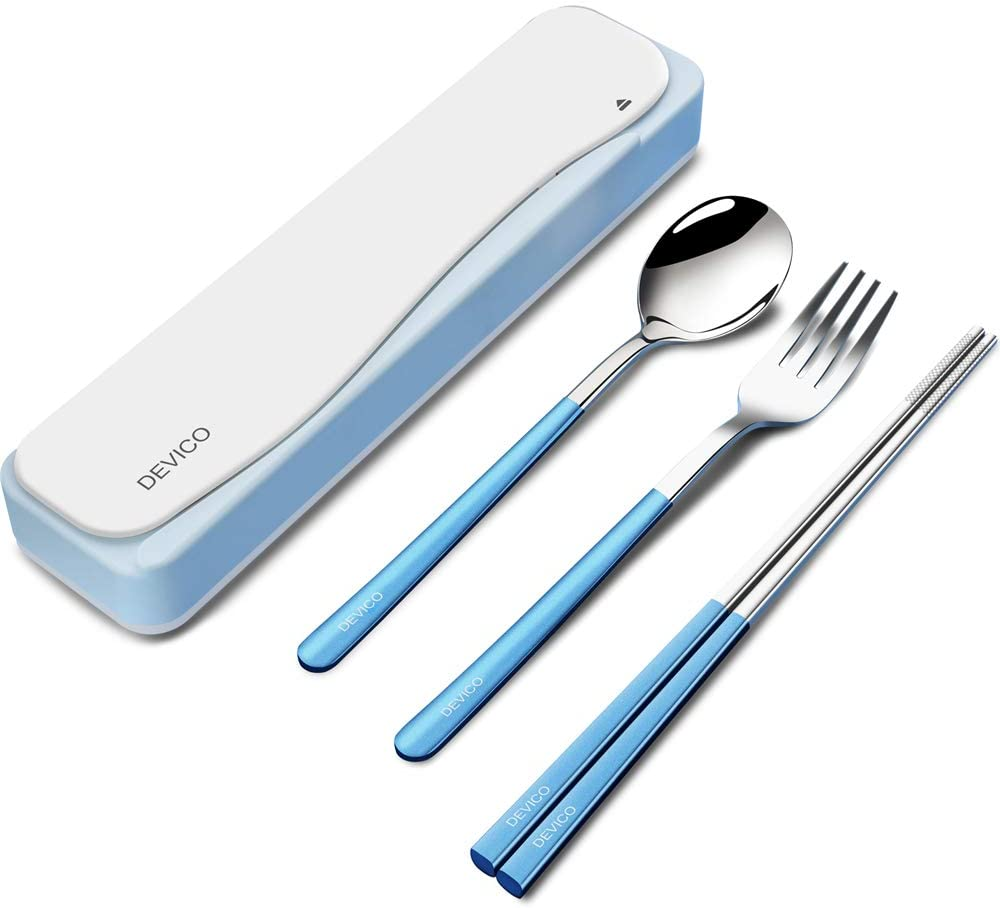 DEVICO Travel Utensils, 18/8 Stainless Steel 4pcs Cutlery Set Portable Camp Reusable Flatware Silverware, Include Fork Spoon Chopsticks with Case (Blue)