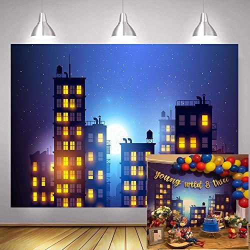 Superhero Cityscape Photography Background Super Hero City Photo Studio Beautiful Moon Backdrops Vinyl MTMETY 5X3ft]()