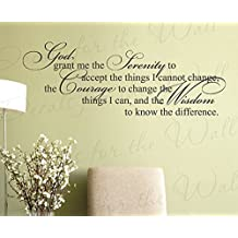 God Grant Me The Serenity To Accept The Things I Cannot Change - Prayer Fate Religious Christian - Wall Decal Mural Graphic - Vinyl Quote Sticker Art Decoration -
