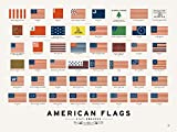 """Pop Chart Lab """"American Flags"""" Poster Print, 24"""" x 18"""", Multicolored"""
