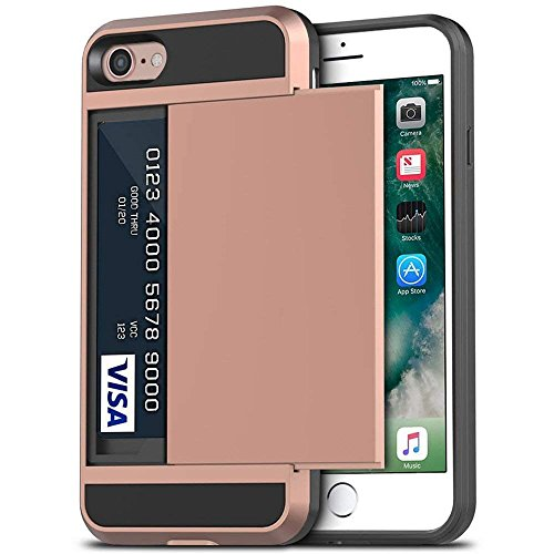 iPhone 7 Case, Anuck Shockproof iPhone 7 Wallet Case [Card Pocket] Anti-scratch Protective Shell Rugged Rubber Bumper Cover with Card Slot Holder for Apple iPhone 7 & iPhone 8 (4.7 inch) - Rose Gold