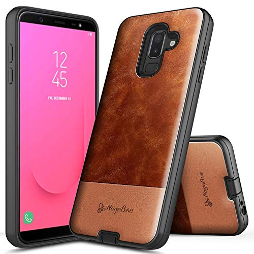 Galaxy J8 Case, NageBee Premium [Cowhide Leather] Snap-On Heavy Duty Shockproof Dual Layer Hybrid Defender Rugged Durable Case Designed for Samsung Galaxy J8 (2018) -Brown