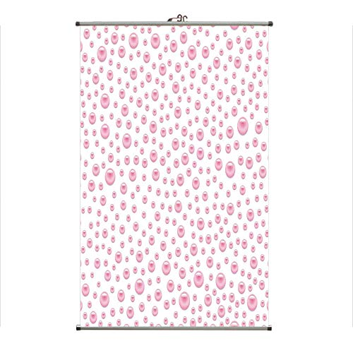Wall Hanging Picture Wall Scroll Poster Fabric Painting,Baby Pink Color Pearls Precious Stones Nursery,3D Print Design Personality Customization Make Your Room unique23.6 X27.6