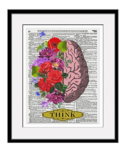 """Brain With Flowers """"Think"""" 11x14 Inch Reproduction Vintage D"""