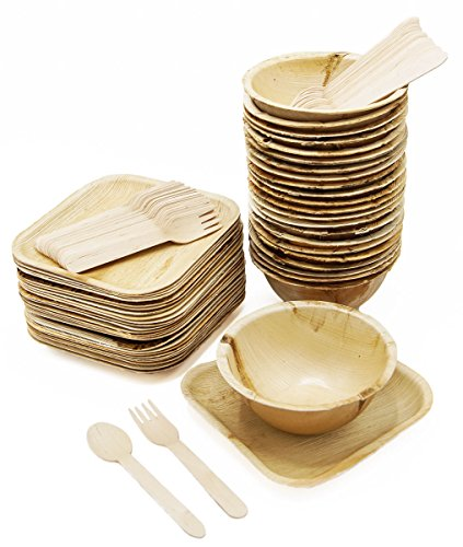 "Elegant Dinnerware Disposable Set of 100: Palm Leaf Plates - Round 16 oz Bowls (25), Square 7"" (25); Wood Forks (25), Spoons (25) - Eco friendly, Compostable"