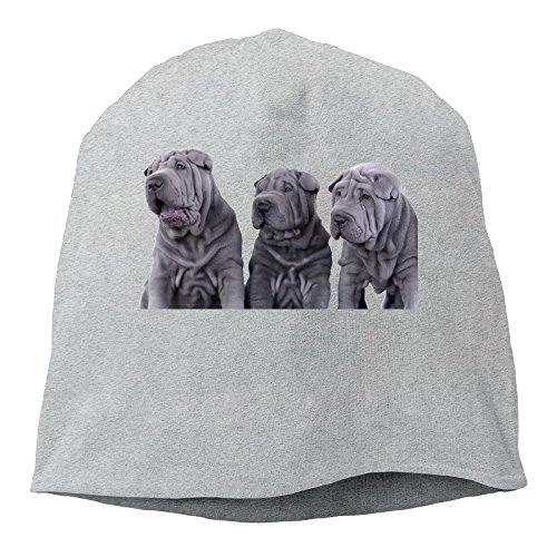 Fashion Solid Color Three Shar Pei Dogs Hedging Cap For Unisex Ash One Size