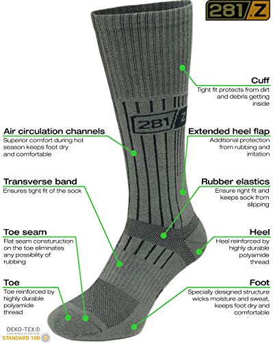 281Z Military Boot Socks - Tactical Trekking Hiking - Outdoor Athletic Sport (Sage Green) - stylishcombatboots.com