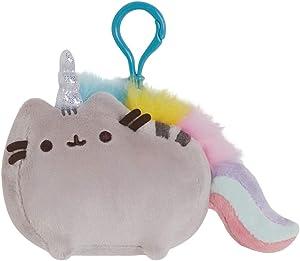 GUND Pusheenicorn Pusheen Unicorn Cat Plush Stuffed Animal Backpack Clip, Gray, 4.5