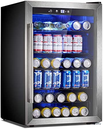 Antarctic Star Beverage Refrigerator Cooler-145 Can Mini Fridge Clear Front Glass Door for Soda Beer Wine Stainless Steel Glass Door Small Drink Dispenser Machine Digital Display for Office,Home, Bar,4.5cu.toes