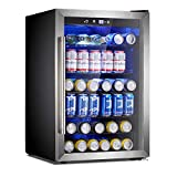 Antarctic Star Beverage Refrigerator Cooler-120 Can Mini Fridge Glass Door for Soda Beer Wine Stainless Steel Glass Door Small Drink Dispenser Machine Digital Display for Office,Home, Bar,4.5cu.ft