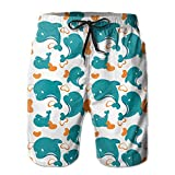 MALAA Mens Miami Dolphin Cartoon Cute Pattern Summer Quick-drying Swim Trunks Beach Shorts Cargo Shorts