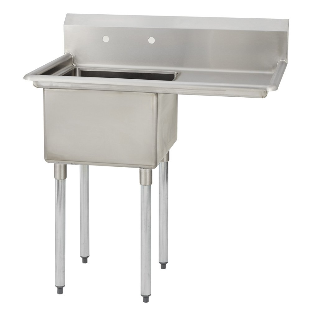 "Fenix Sol One Compartment Stainless Steel Sink, Bowl: 18""L x 18""W x 12""D, Overall Size: 38.5''L x 23.8''W x 43''H, 1 x 18'' Right Drainboard, Galv Legs"