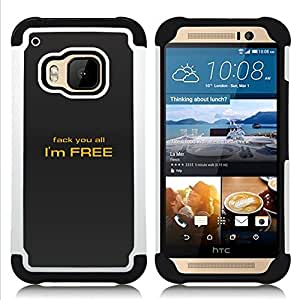 - Fack You All/ H???¡¯????brido 3in1 Deluxe Impreso duro Soft Alto Impacto caja de la armadura Defender - SHIMIN CAO - For HTC ONE M9