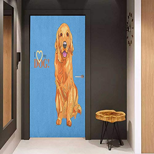Photo Wall Decal Golden Retriever Smiling Cute Dog Cartoon Style I Heart My Pet Theme for Animal Lovers for Home Decor W30 x H80 Blue and Orange (Pets Cap Golden Retriever)