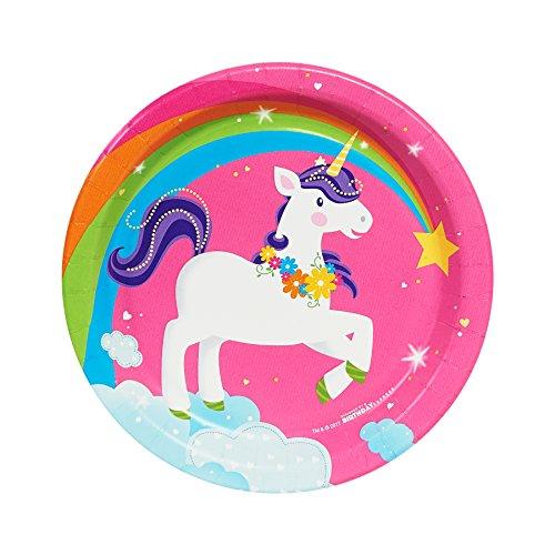 BirthdayExpress Fairytale Unicorn Party Supplies - Dessert Plates -