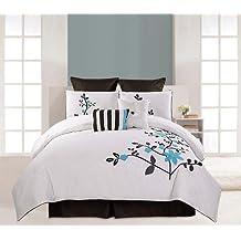 RT Designers Collection 8-Piece Cotton Comforter Set, Queen, Blue