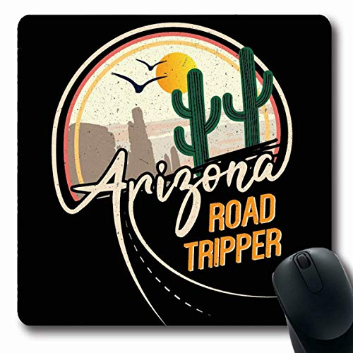 LifeCO Computer Mousepads Modern Green Arizona Road Tripper Cactus Slogan Western Drawing Desert Mountain Label Styled Saguaro Oblong Shape 7.9 x 9.5 Inches Oblong Gaming Mouse Pad Non-Slip Rubber ()