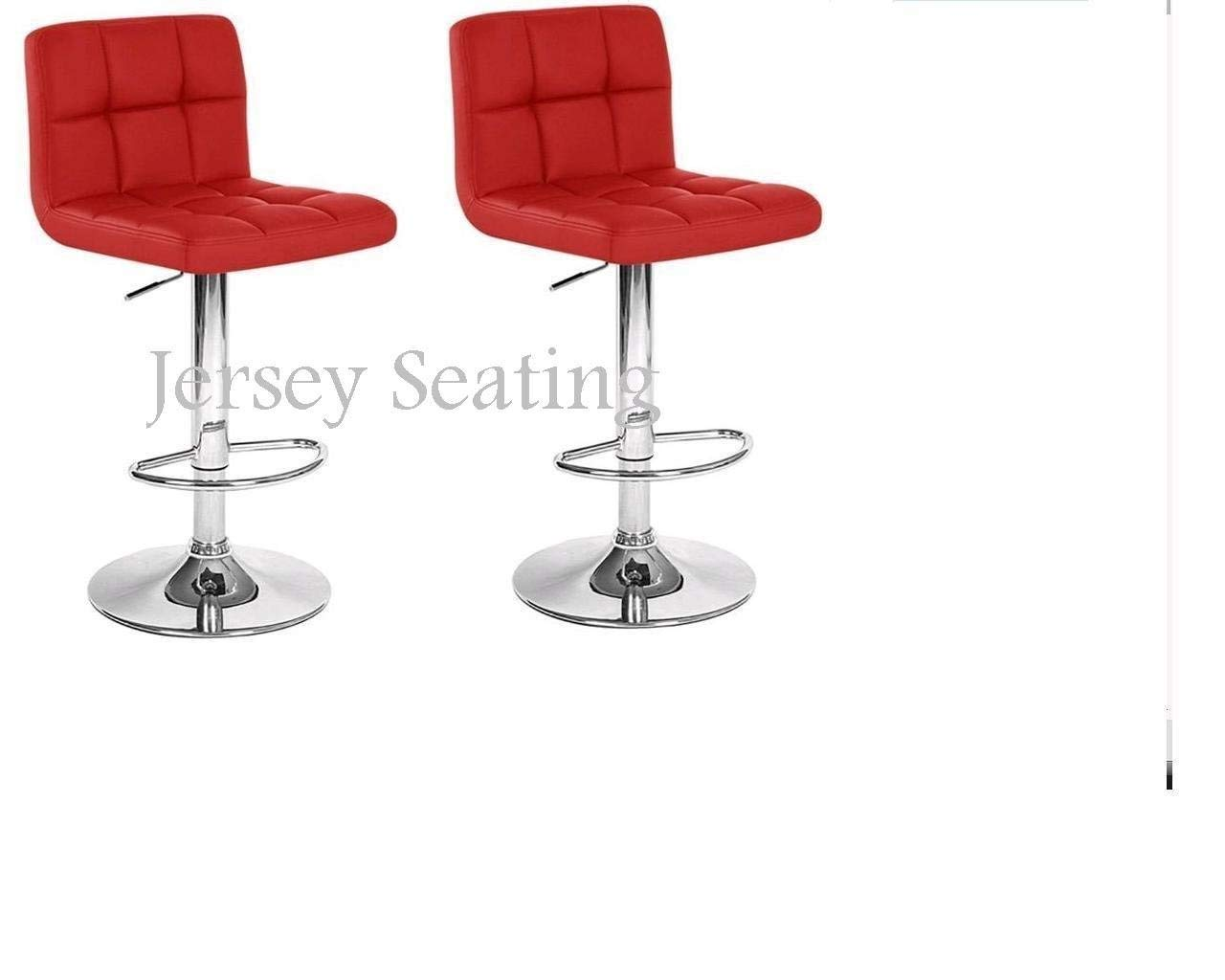 2 x PU Leather Hydraulic Lift Adjustable Counter Bar Stool Dining Chair Red -Pack of 2 150 Made By jersey seating
