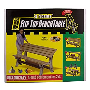 Hopkins 90110ONLMI 2x4basics Flip Top BenchTable, Sand