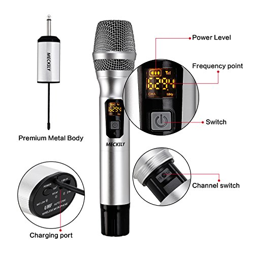 Wireless Microphone, Handheld Vocal Metal Dynamic Cordless Mic with UHF Cardioid and Multi-Channel Frequency, Support Many People Singing, PA, Voice Amplifier and more(Sliver)