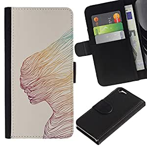 KLONGSHOP / Tirón de la caja Cartera de cuero con ranuras para tarjetas - Abstract Woman Teal Yellow Art - Apple iPhone 6 4.7