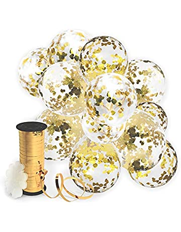 Gold Confetti Balloon For Party Decoration 32 Pack Curling Ribbon Flower Clips
