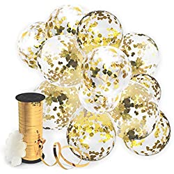 Decopom Gold Confetti Balloons Curling Ribbon Roll & Flower Clips 32 Pack | Premium 12 Inch Latex Party Balloons - Filled Round Golden Mylar Foil Dot Confetti Birthday, Wedding, Proposal