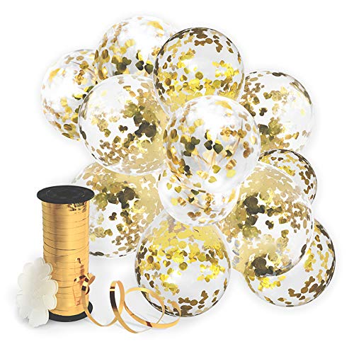 Decopom Gold Confetti Balloons Curling Ribbon Roll & Flower Clips 32 Pack | Premium 12 Inch Latex Party Balloons - Filled Round Golden Mylar Foil Dot Confetti Birthday, Wedding, Proposal -