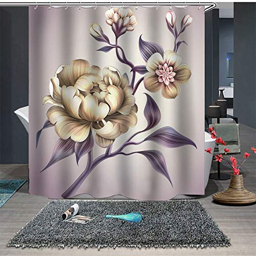 Beddinginn Purple Elegant Peony Flower Summer Shower Curtain Set with 12 Hooks Modern Flower Fabric Bath Curtains Decorative Thick Bathroom Curtain (Elegant Sets Bathroom)
