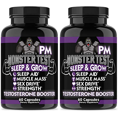 Angry Supplements Monster Test PM Testosterone Booster Plus Sleep Aid, Boost T-Levels w. All Natural Pill Powerful & Potent Ingredient, Boost Energy in Gym + Bedroom Performance (2-Bottles) (Monster High Support)