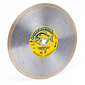 "Piranha 10-Inch (10"") Wet/Dry Tile Saw Diamond Blade, 10"" X .080 X 5/8"" Arbor, Continuous Super-Hi Rim Design, Cuts Porcelain Tile, Ceramic Tile, Marble, Granite & Similar (10"" X .080 X 5/8"" Arbor)"